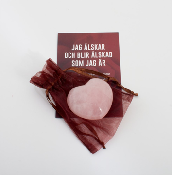 Bild på Hjärta med kärleksaffirmation: rosenkvarts